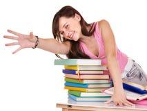 Libro coloreado grupo de la lectura de la muchacha. Fotografía de archivo
