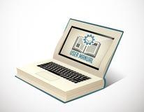 Libro como base de conocimiento - manual de la guía de usuario stock de ilustración