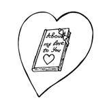 Libro con cuore Elemento di progettazione di vettore di schizzo per il San Valentino Fotografie Stock Libere da Diritti