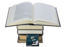 Libro con disco rigido incluso Fotografia Stock