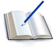 Libro con el lápiz Foto de archivo