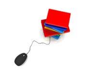Libro con el ratón del ordenador Imagen de archivo libre de regalías