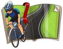 Libro con la guida del ciclista sulla strada royalty illustrazione gratis