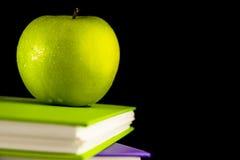 Libro con la manzana verde Fotografía de archivo