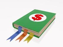 Libro con la muestra de dólar Foto de archivo