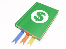 Libro con la muestra de dólar Imagenes de archivo