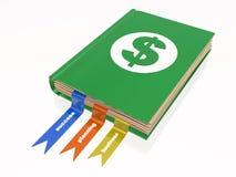 Libro con la muestra de dólar Foto de archivo libre de regalías
