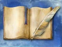 Libro con la pluma-pluma Fotografía de archivo