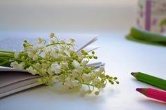 Libro con las flores Imagenes de archivo