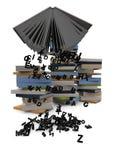 Libro con las letras del vuelo Foto de archivo libre de regalías