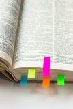 Libro con las señales en el fondo blanco Imágenes de archivo libres de regalías