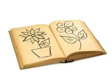 Libro con le illustrazioni del fiore Fotografie Stock Libere da Diritti
