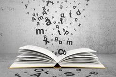 Libro con le lettere Immagini Stock