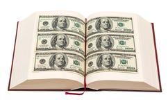 Libro con le pagine del dollaro Fotografie Stock