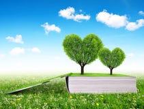 Libro con los árboles en la forma del corazón Imagen de archivo libre de regalías