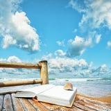 Libro con un seashell immagine stock libera da diritti