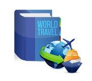 Libro con un título del concepto del World Travel Imagenes de archivo