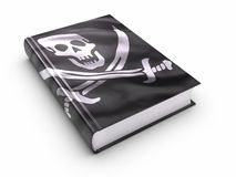 Libro coperto di bandierina di pirati - isolata Fotografia Stock