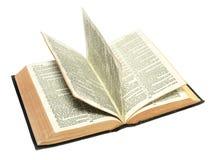 Libro d'annata aperto con il giro delle pagine Fotografie Stock Libere da Diritti