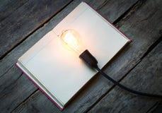 Libro d'annata e lampadina sulla tavola di legno Fotografia Stock Libera da Diritti