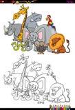 Libro da colorare animale dei caratteri di safari Immagine Stock