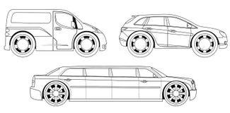 Libro da colorare: automobili stilizzate messe Immagini Stock Libere da Diritti