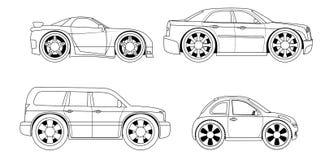 Libro da colorare: automobili stilizzate messe Fotografia Stock Libera da Diritti