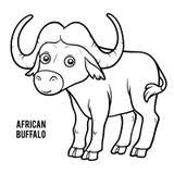 Libro da colorare, bufalo africano illustrazione vettoriale
