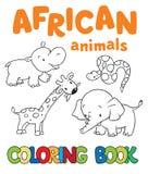 Libro da colorare con gli animali africani Immagine Stock