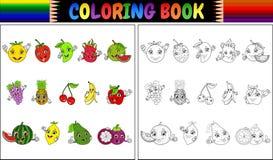 Libro da colorare con i frutti svegli del fumetto Immagine Stock
