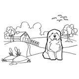 Libro da colorare con il cane ed il paesaggio Fotografia Stock