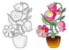 Libro da colorare con il fiore leggiadramente Immagine Stock Libera da Diritti