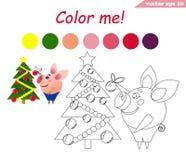 Libro da colorare con il maiale che decora albero illustrazione di stock