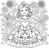 Libro da colorare con il piccolo cuore di Princesa in sue mani Coloritura della ragazza con i fiori e le farfalle illustrazione vettoriale