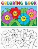 Libro da colorare con il tema 1 del fiore Immagini Stock Libere da Diritti