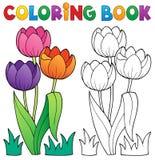 Libro da colorare con il tema 4 del fiore Immagini Stock