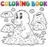 Libro da colorare con il tema felice 1 della talpa Immagini Stock Libere da Diritti