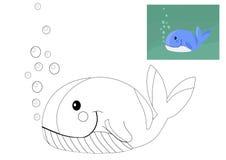 Libro da colorare con la balena Fotografie Stock