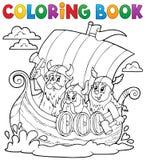 Libro da colorare con la nave di Viking Fotografie Stock