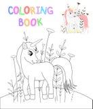 Libro da colorare dei bambini s con gli animali del fumetto Mansioni educative per l'unicorno sveglio dei bambini in età prescola illustrazione vettoriale