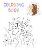 Libro da colorare dei bambini s con gli animali del fumetto Mansioni educative per la ragazza sveglia dei bambini in età prescola Immagini Stock Libere da Diritti