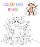 Libro da colorare dei bambini s con gli animali del fumetto Mansioni educative per la scimmia sveglia dei bambini in età prescola Immagine Stock Libera da Diritti