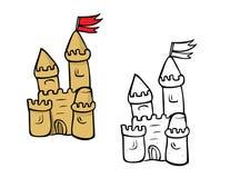 Libro da colorare del castello di sabbia Immagine Stock
