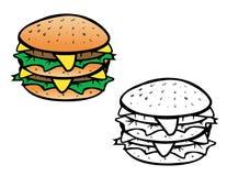 Libro da colorare del cheeseburger Fotografie Stock Libere da Diritti