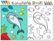 Libro da colorare del delfino Immagine Stock