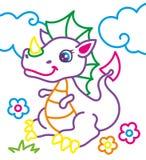 Libro da colorare del drago sveglio illustrazione vettoriale