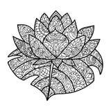 Libro da colorare del fiore di Lotus per il vettore degli adulti Immagine Stock