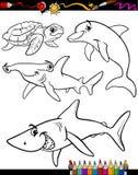 Libro da colorare del fumetto degli animali di vita di mare Fotografia Stock Libera da Diritti
