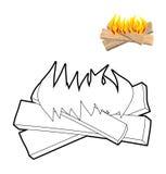 Libro da colorare del fuoco del campo Bordi e fiamme nello stile lineare illustrazione di stock