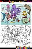 Libro da colorare del gruppo di animali di vita di mare Fotografie Stock Libere da Diritti